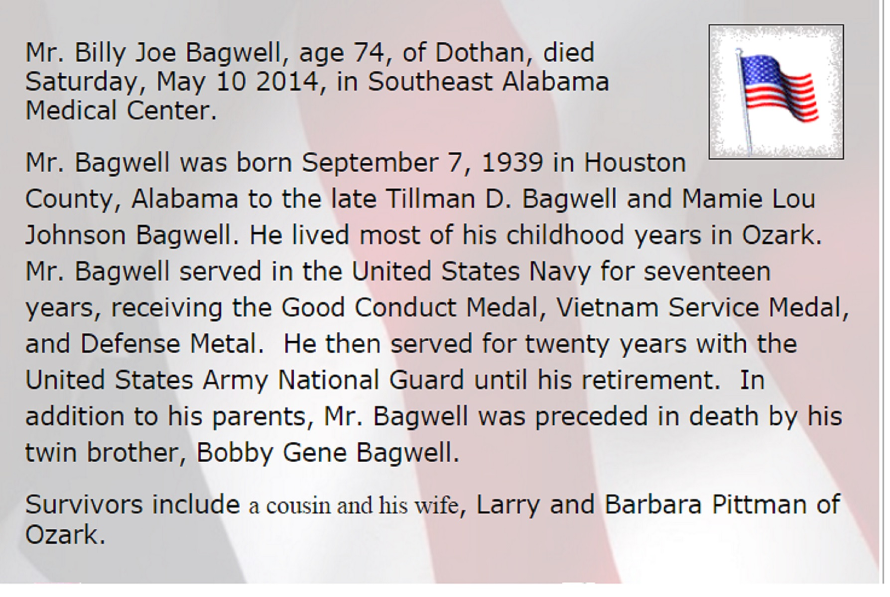 Dale countys best obituaries of those in uniform from dale bagwell billy joe obituary fandeluxe Images